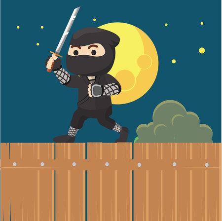 ninja ancient: Ninja boy walking when night