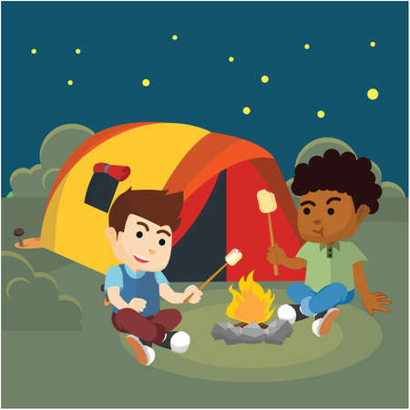 weekend activities: Children camp and eat marshmallow Illustration