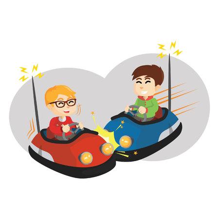 Jongen speelt bumper auto met vriend Stock Illustratie
