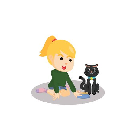 animals feeding: Girl giving cat foods