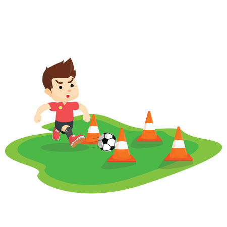 dribbling: Boy dribbling ball Illustration