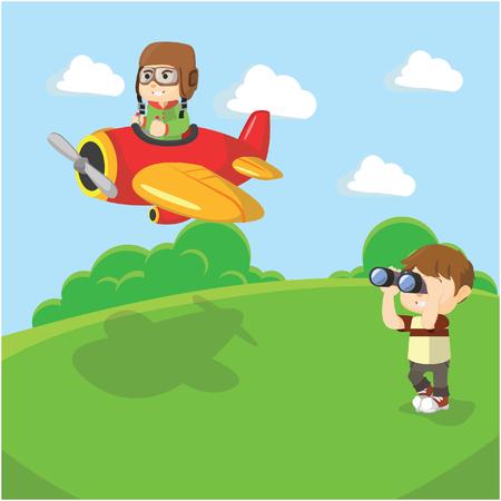 seeing: Boy seeing plane with binocular