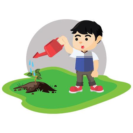 Boy watering tree