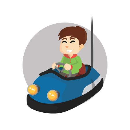 bumper: Boy using bumper car Illustration