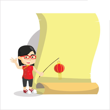 chinesse: Boy using chinesse costume with giant paper Illustration