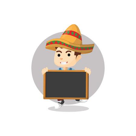 mexican boy: Mexican boy using banner Illustration