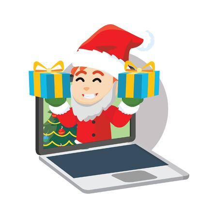 clause: Santa clause boy giving gift from laptop