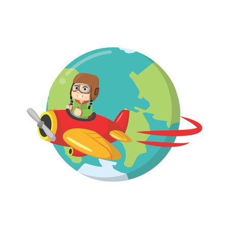 ridding: Boy ridding plane around the world