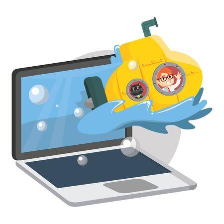 computer keyboard: Submarine online game
