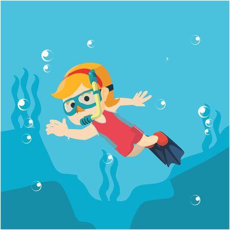 skin diving: Diving girl waving hand