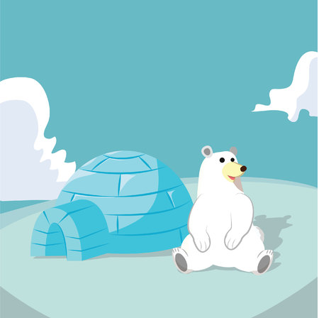 igloo: Polar bear with igloo house