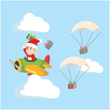 delivering: santa boy delivering gift with plane Illustration