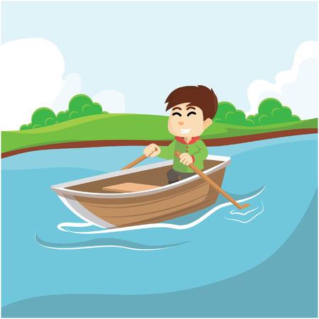 rowing: Boy rowing boat Illustration