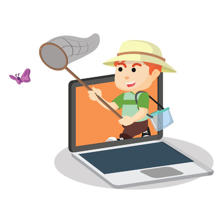 online game: Catching butterfly online game Illustration