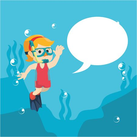 cartoon bubble: girl diving and waving hand