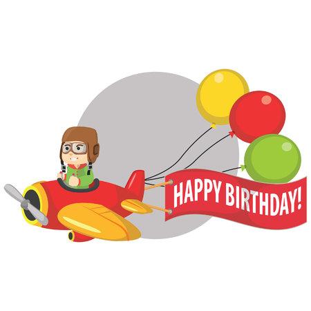 ridding: Boy ridding plane and say happy birthday Illustration