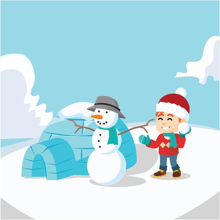 snow man: Boy, Snow man and igloo house