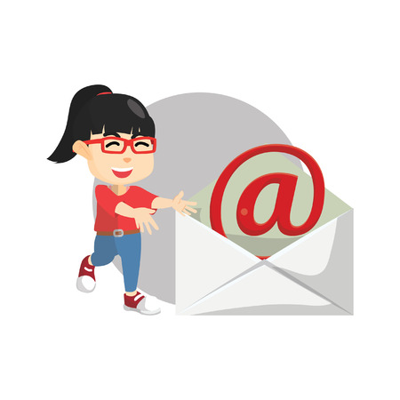 by mail: Girl presenting envelope mail Illustration