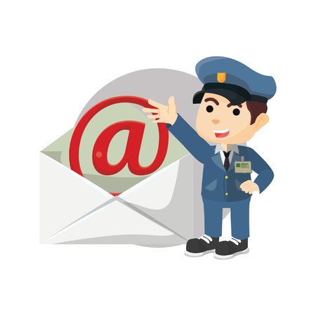 mail envelope: Postman with giant mail envelope