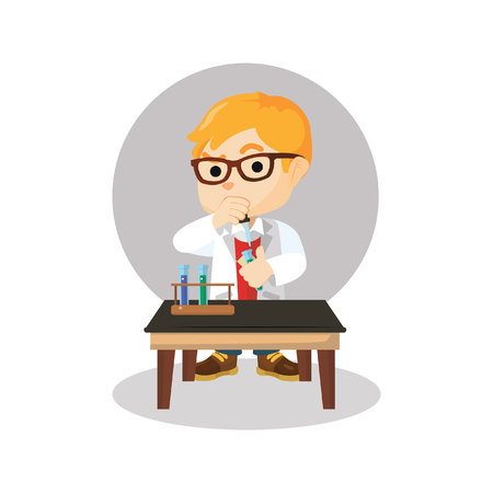 combining: Scientist boy combining chemical Illustration
