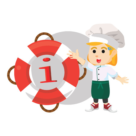 lifebelt: Chef girl with float information