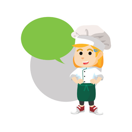callout: Chef girl with blank callout Illustration