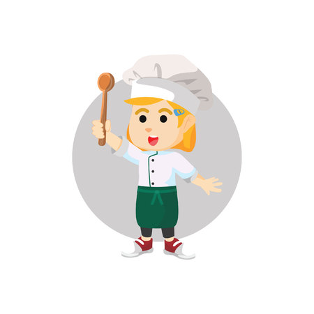 ladle: chef girl holding  ladle