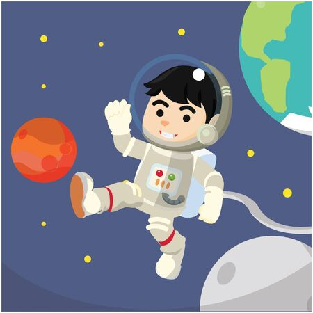 spaceflight: Astronaut waving hand at space Illustration