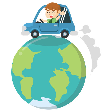 Boy riding car around the world