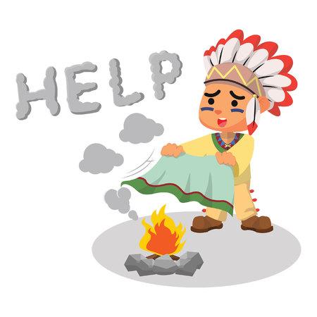 indian boy: Indian boy sending help message Illustration