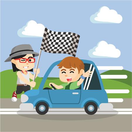 autorace jongen met meisje bedrijf de vlag