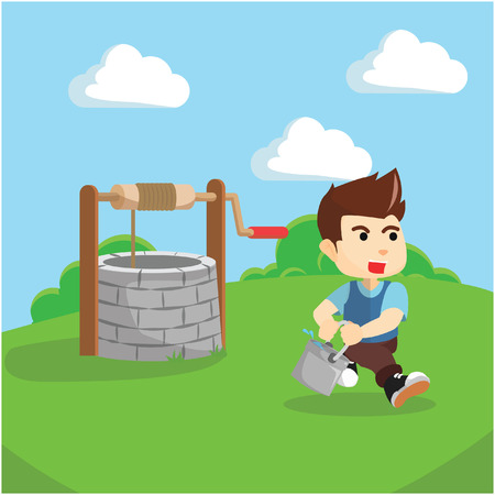 cartoon wood bucket: Boy taking water from draw well illustration
