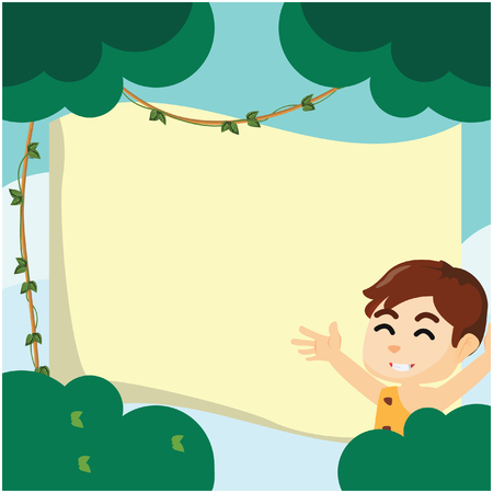 elongated: Boy using wildman custom at forest with giant paper