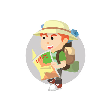traveler: Boy using traveler custom holding map Illustration