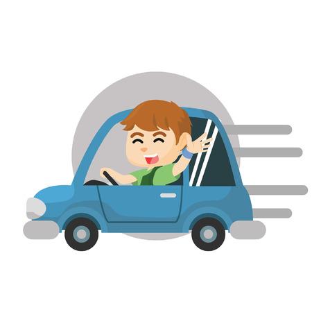 car business: Boy riding car