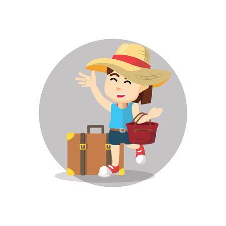 persona feliz: Chica con una bolsa de mano que viaja