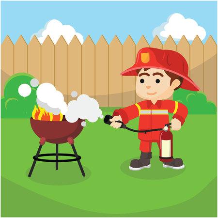 extinguish: Firefighter extinguish small fire Illustration