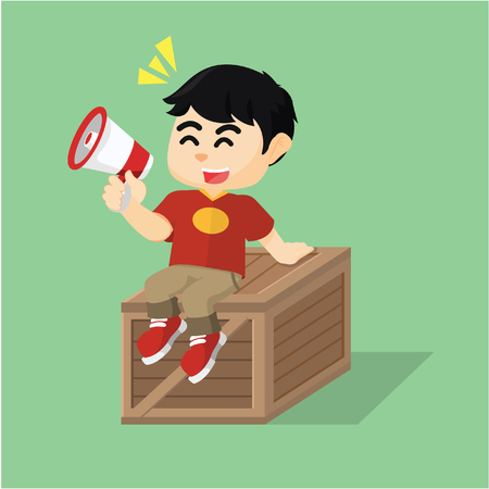 crate: boy sitting on crate box Illustration