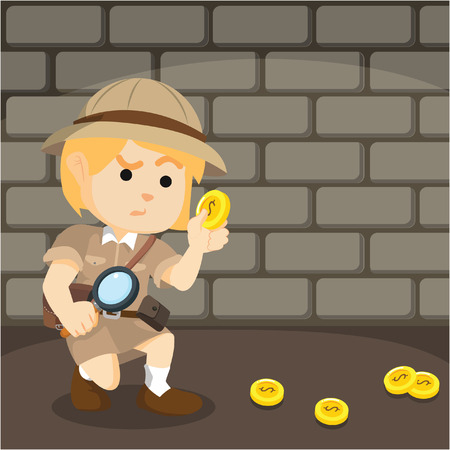 following: gilr explorer following coin trail Illustration