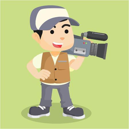 cameraman: Cameraman reporter  cartoon illustration