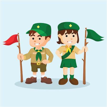 Jongen en meisje scout Vector Illustratie