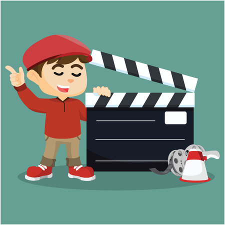 movie director: movie director with giant clapboard