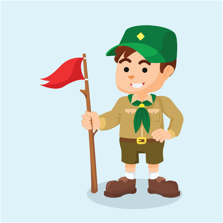 boy scout holding flag Vectores