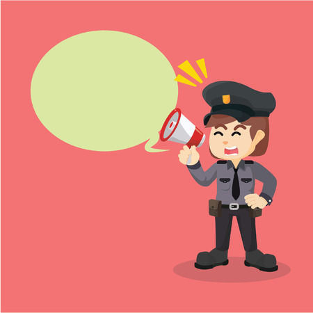 callout: police women megaphone callout