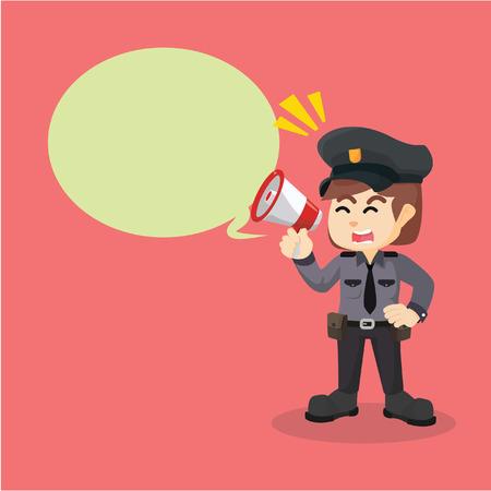 politie vrouwen megafoon bijschrift