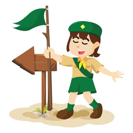 girl scout: Girl scout and arrow sign Illustration