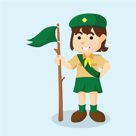 girl scout: girl scout holding flag