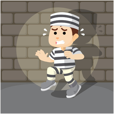 convict: caught convict to run away Illustration