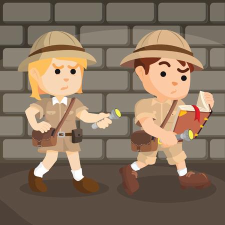 chico y chica explorador siguiente ruta Ilustración de vector