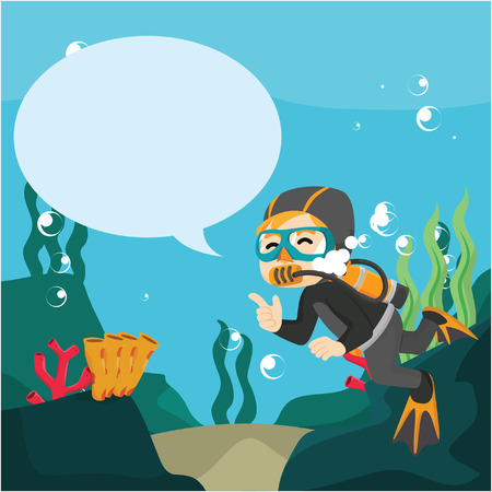 callout: diver with callout underwater Illustration